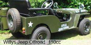 Kinderjeep Willys Jeep 110cc mit Benzinmotor ORIGINAL